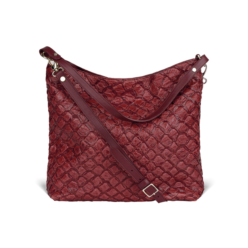 Playa Shoulder Bag - Bordeaux Pirarucu - PRE-ORDER