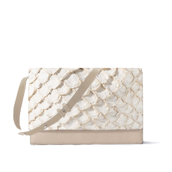 front view of Piper & Skye Pirarucu leather handbag in Ivory