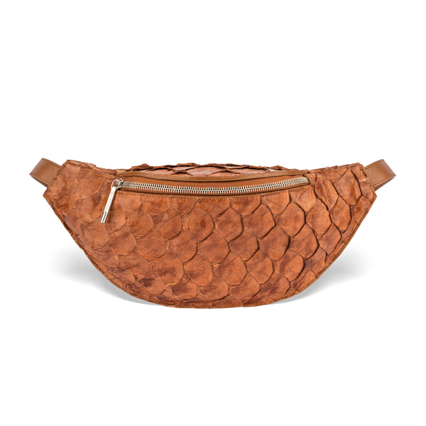 cognac pirarucu leather fanny pack, piper & skye responsible luxury