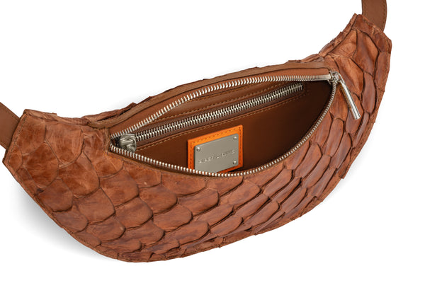 cognac pirarucu leather, luxury belt bag by piper & skye responsible luxury