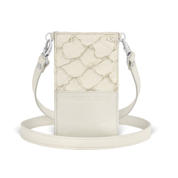 back view of luxury pirarucu leather, crossbody phone case from piper & skye