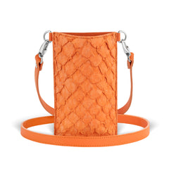 orange pirarucu leather crossbody phone case from piper & skye