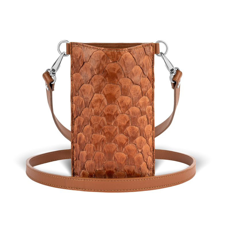 cognac pirarucu leather, crossbody phone case, piper & skye responsible luxury