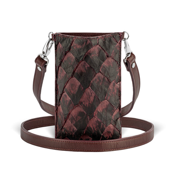 pirarucu leather, crossbody phone case in Bordeaux from piper & skye