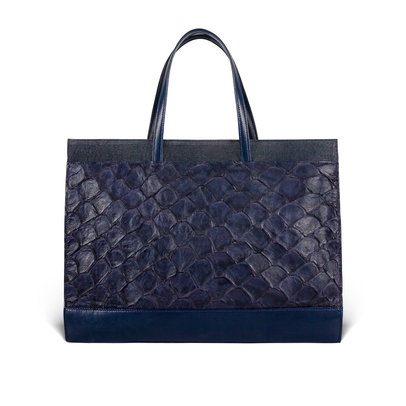 piper & skye responsible luxury pirarucu tote, made in america