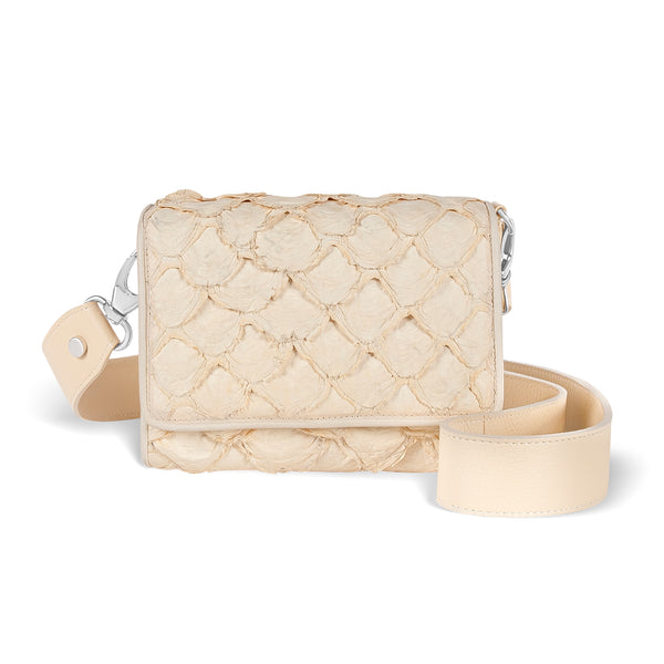lola crossbody handbag in ivory pirarucu leather