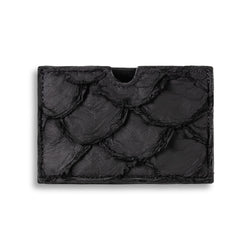 Front view pirarucu leather cardholder in Black by Piper & Skye