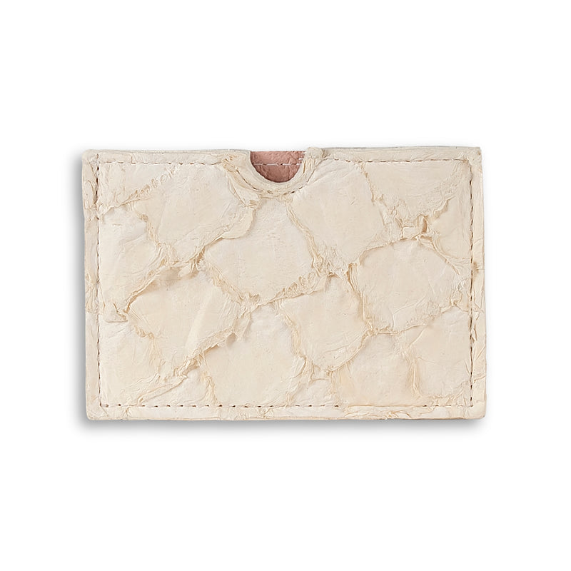 Pirarucu leather cardholder in Ivory, made by Piper & Skye