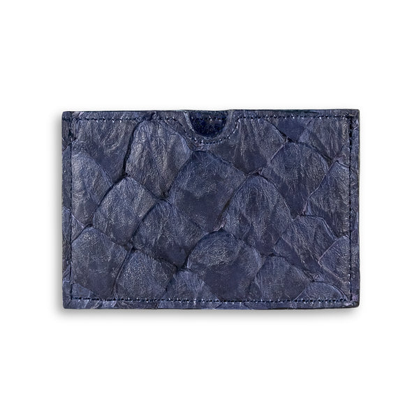 Evening blue pirarucu leather cardholder by Piper & Skye