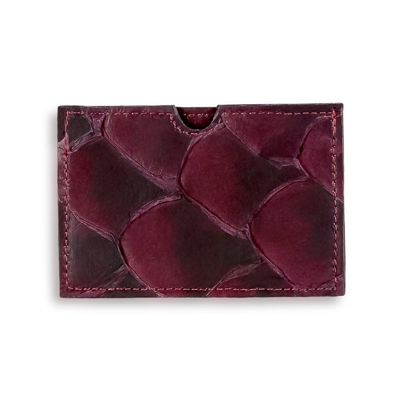 Bordeaux Pirarucu leather cardholder made in America