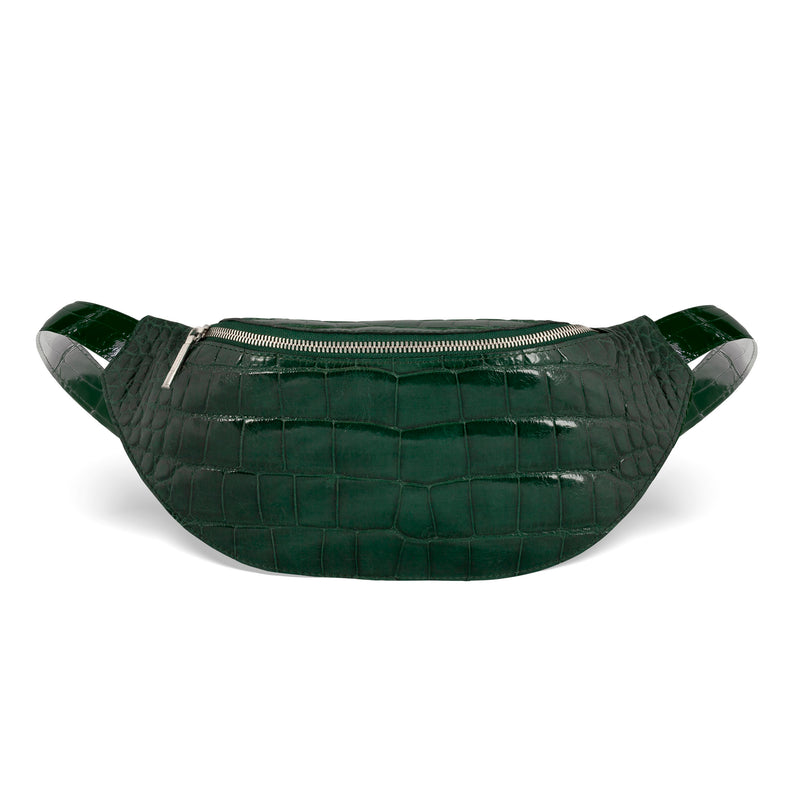 responsible luxury alligator mac pack in forest green