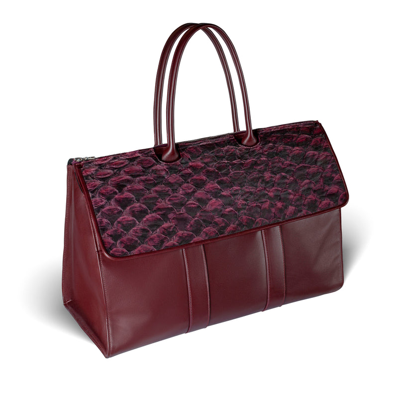 side view bordeaux pirarucu weekender by piper & skye