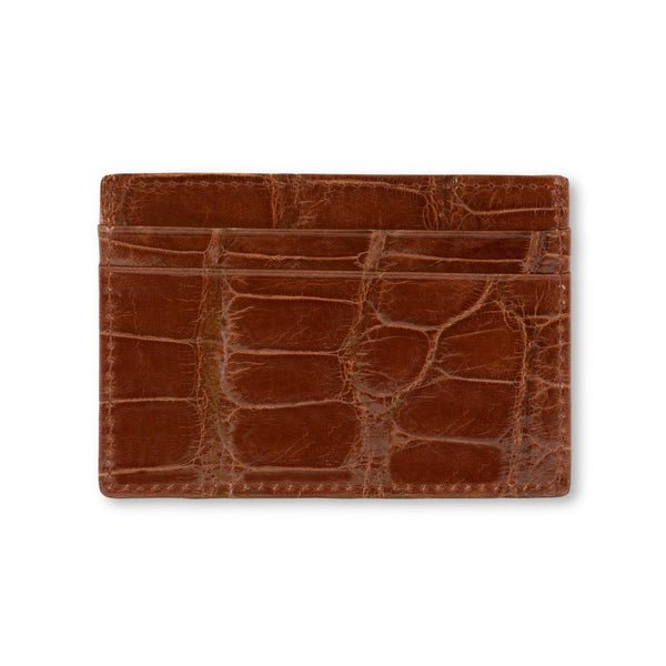 Back view of cognac leather cardholder, made in american wild alligator skin.