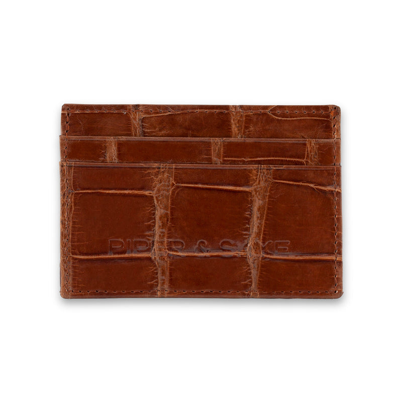 Front view of cognac leather cardholder, made in american wild alligator skin.