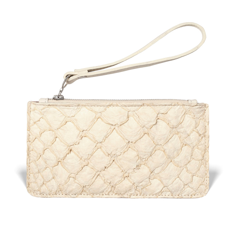 piper & skye ivory pirarucu leather wristlet