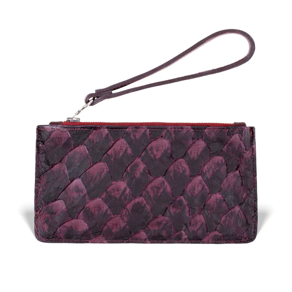 pirarucu leather wristlet in bordeaux, made by piper & skye
