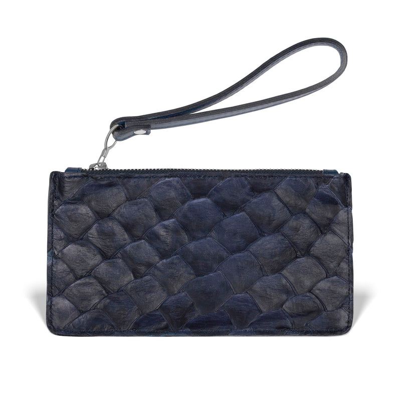 piper & skye evening blue pirarucu leather wristlet