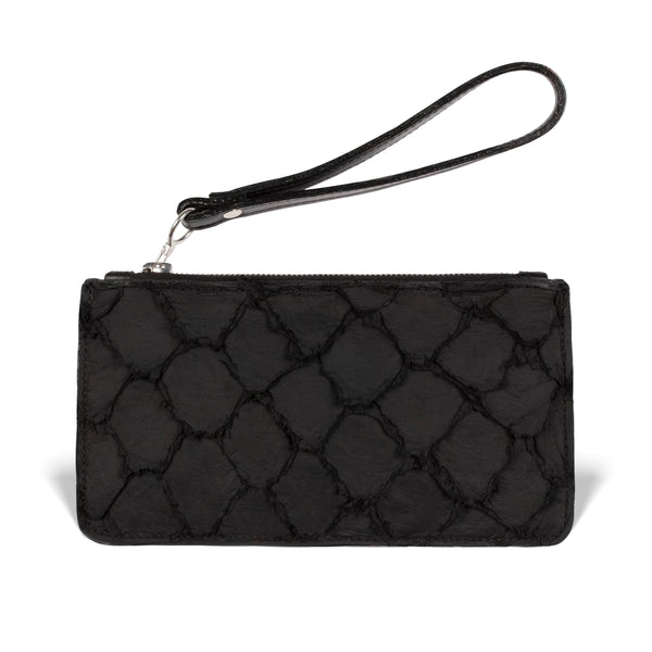 Daya black pirarucu leather wristlet by piper & skye