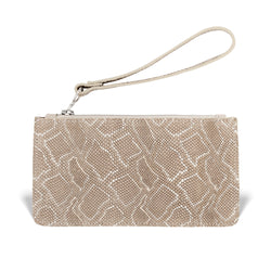responsible luxury, gold embossed leather wristlet