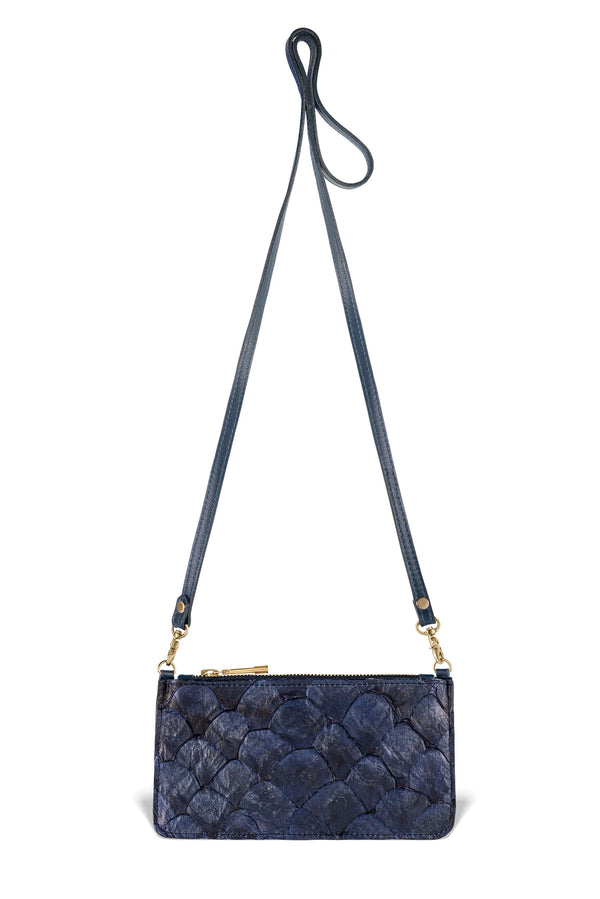Nola Crossbody - Evening Blue Pirarucu