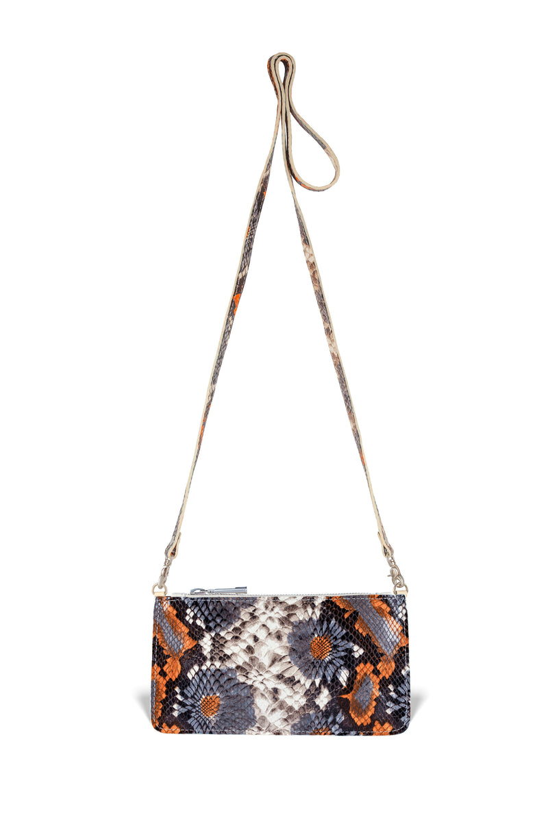 floral embossed leather crossbody handbag