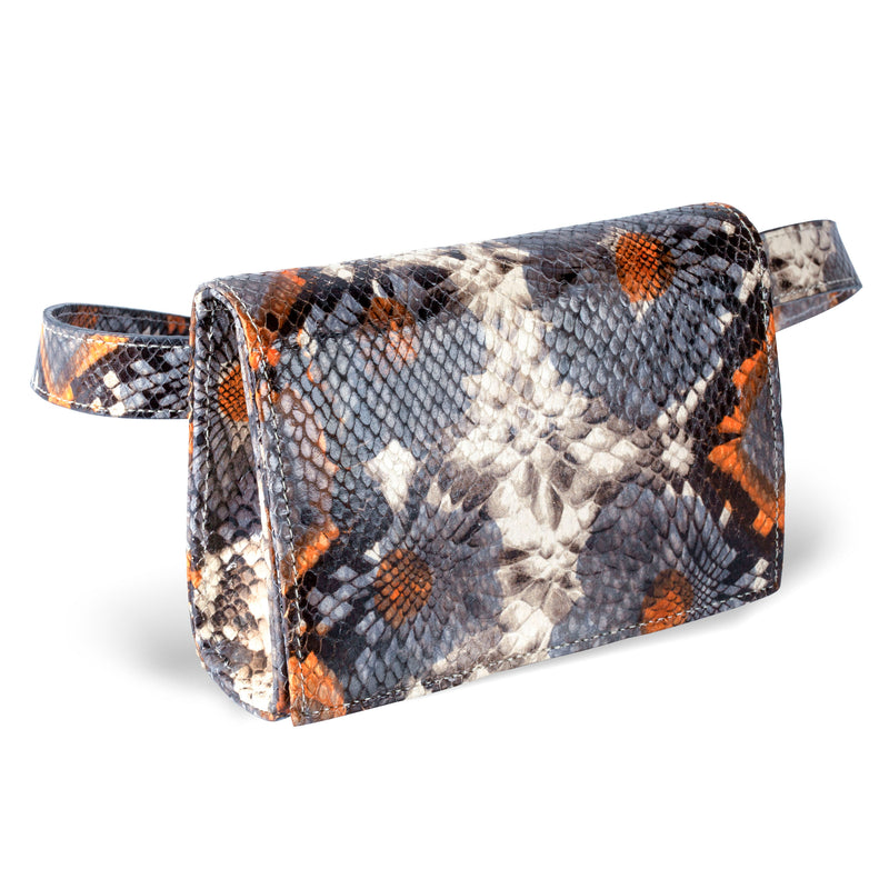 side view of floral embossed leather belt bag from piper & skye