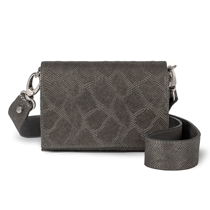 piper & skye lola crossbody bag in metallic gunmetal