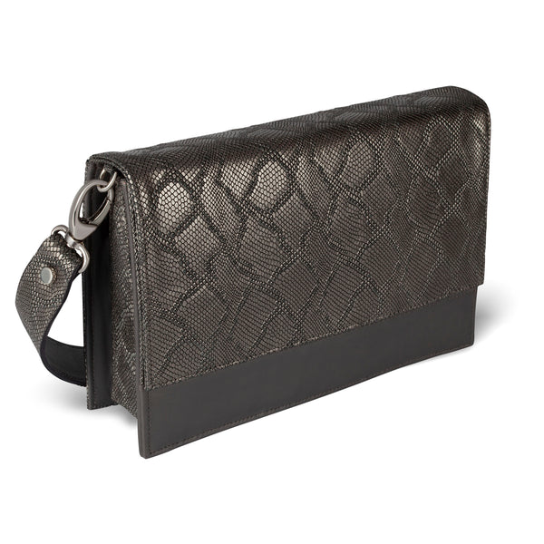 Brava Crossbody - Gunmetal Embossed Leather
