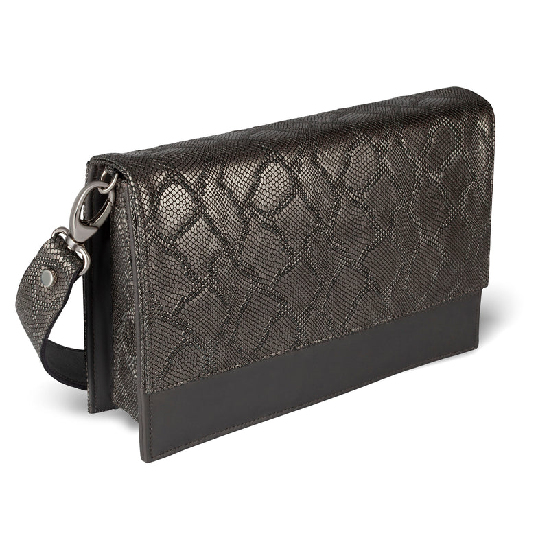 Responsible luxury embossed leather crossbody handbag