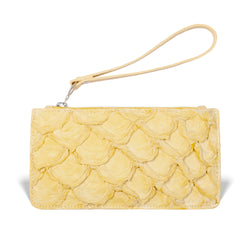 yellow pirarucu leather wristlet made by piper & skye