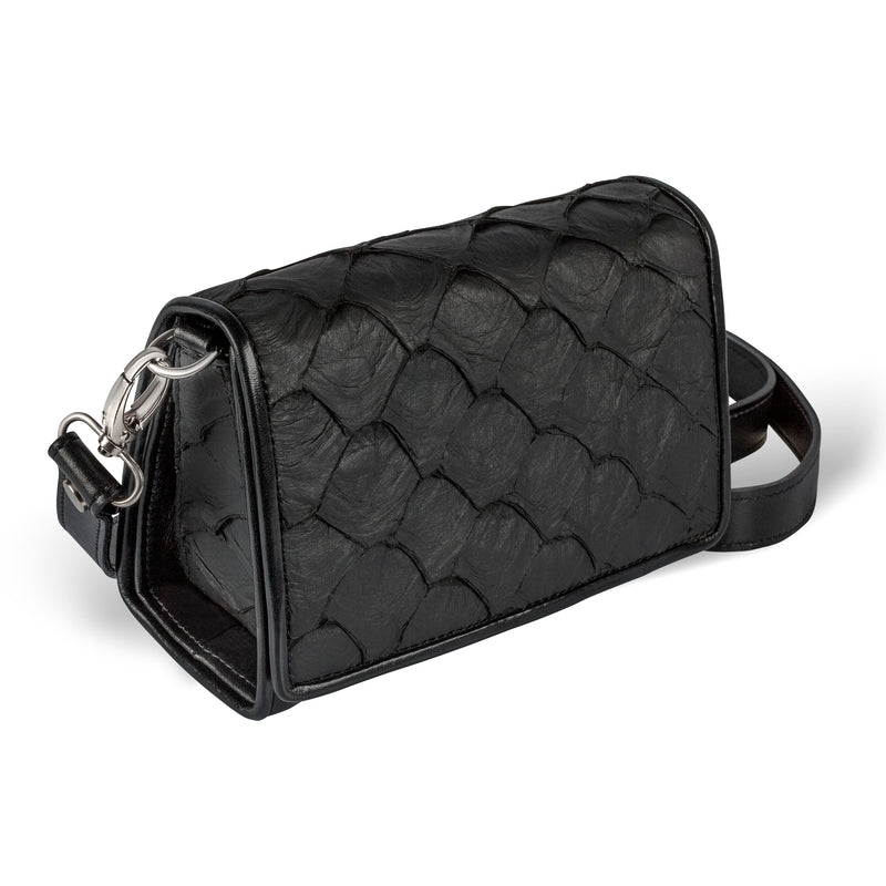 side view of black pirarucu leather crossbody handbag
