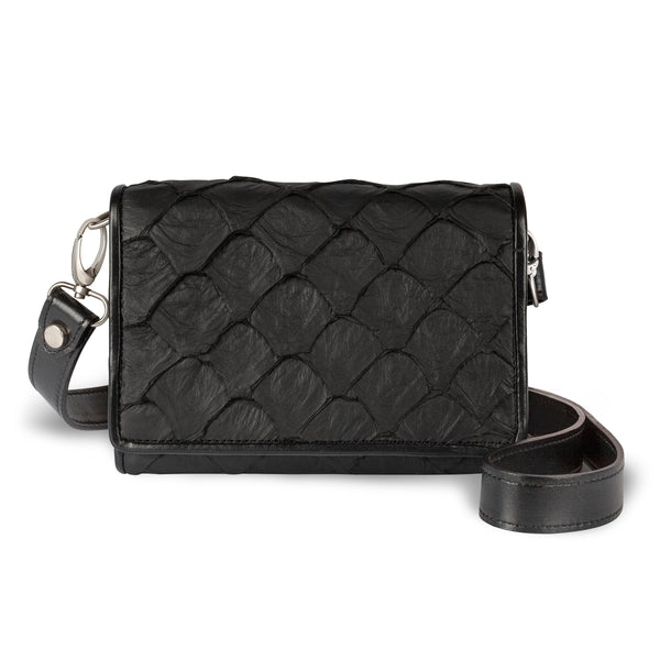 black pirarucu leather crossbody handbag by piper & skye