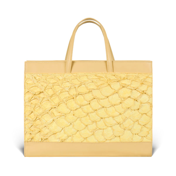 yellow pirarucu leather tote bag, made in the usa by piper & skye
