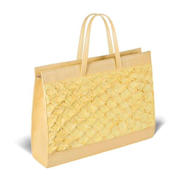 side view yellow pirarucu of yellow pirarucu leather tote bag by piper & skye