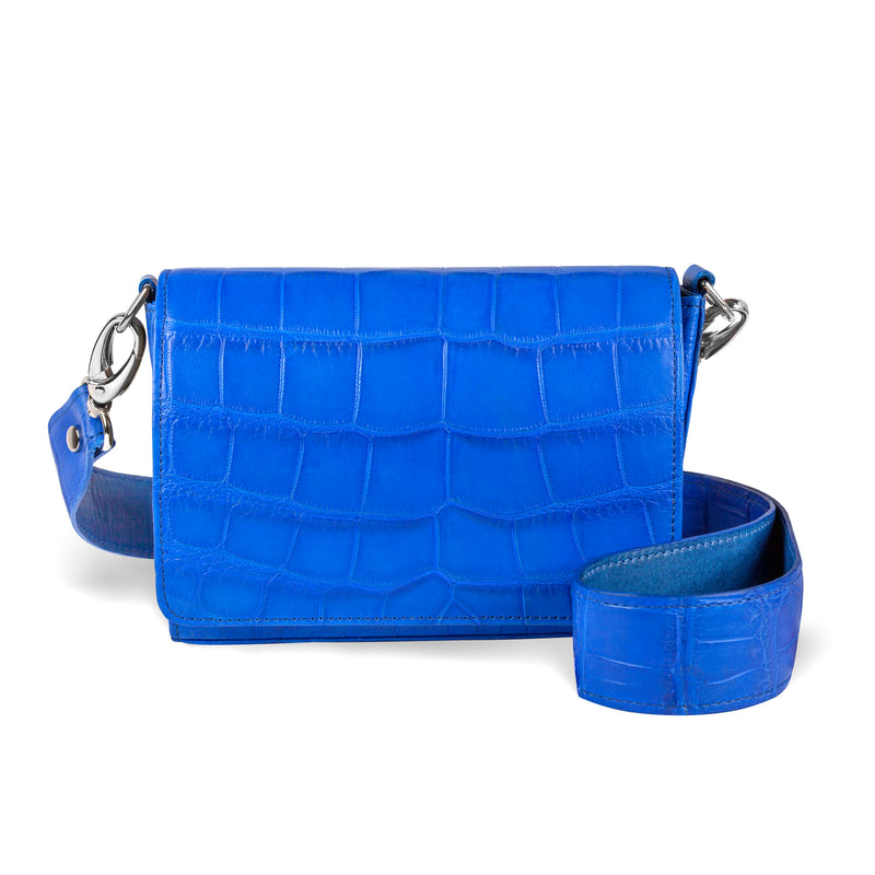 luxury handbag in cobalt leather with crossbody strap from piper & skye