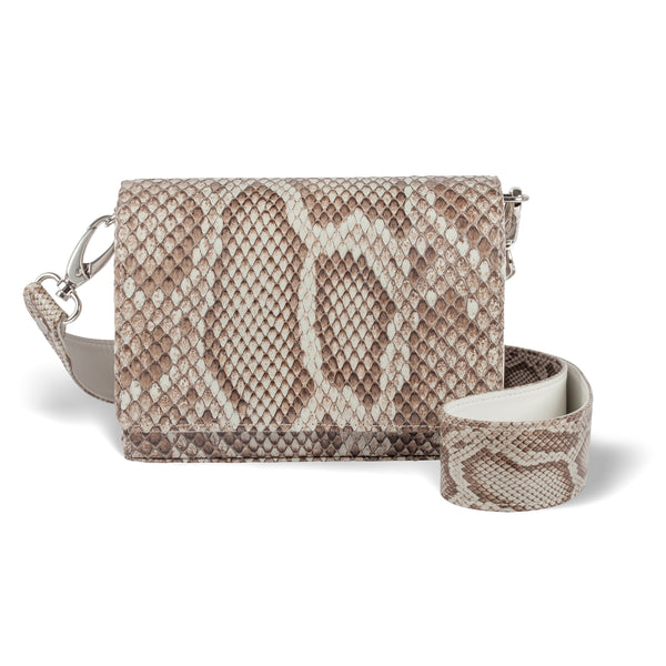 python leather crossbody handbag from toronto brand piper & skye