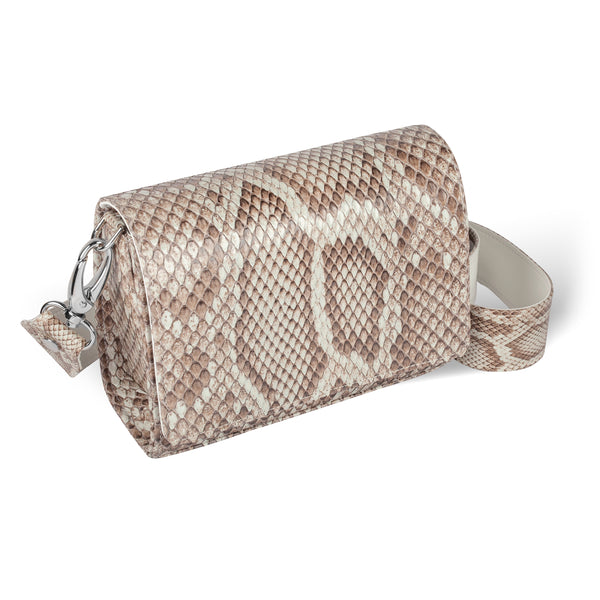 side view of luxury python crossbody from piper & skye