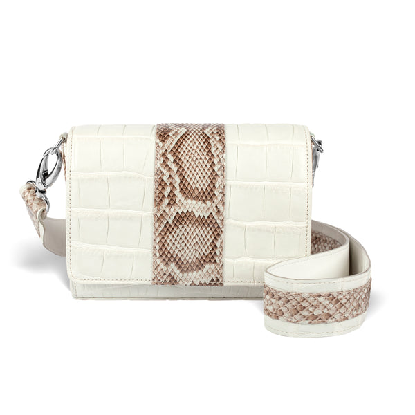 white and python leather luxury crossbody handbag from piper & skye
