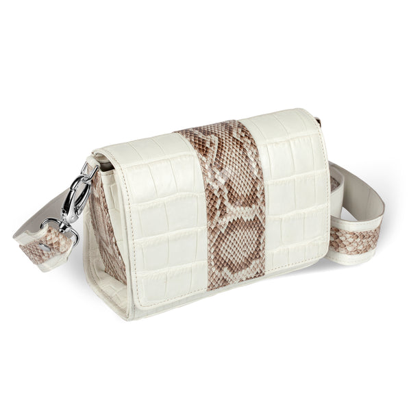 side view of responsible luxury white and python crossbody handbag
