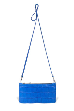 luxury cobalt alligator leather crossbody from piper & skye
