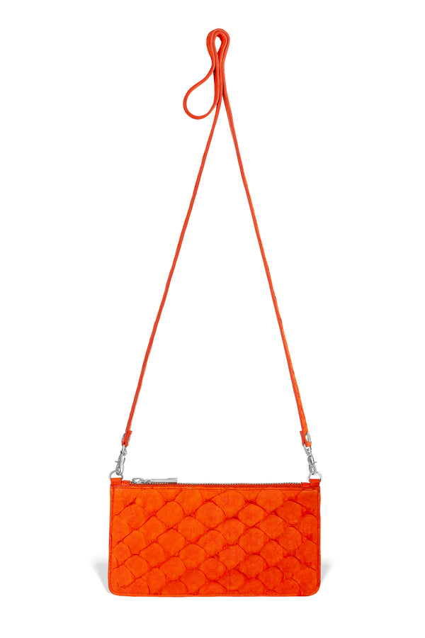 orange pirarucu fish leather luxury crossbody from piper & skye