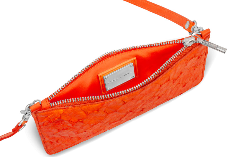 interior view of orange pirarucu crossbody from piper & skye