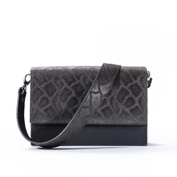front view of gunmetal python embossed leather crossbody