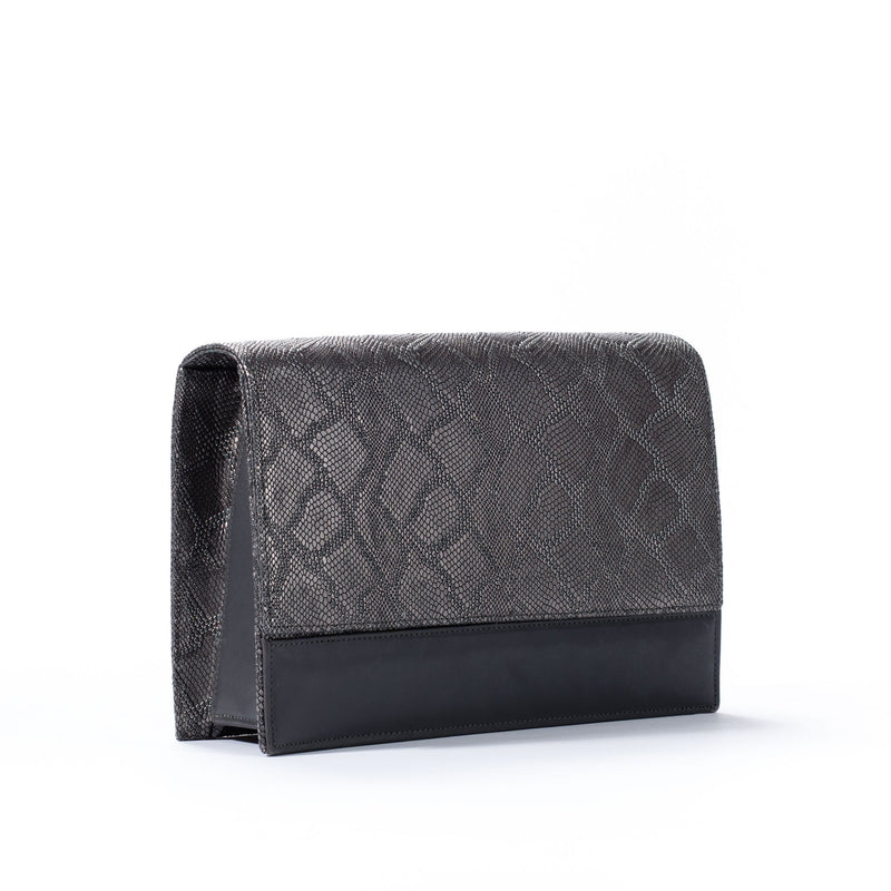 side view of front view of gunmetal python embossed leather crossbody