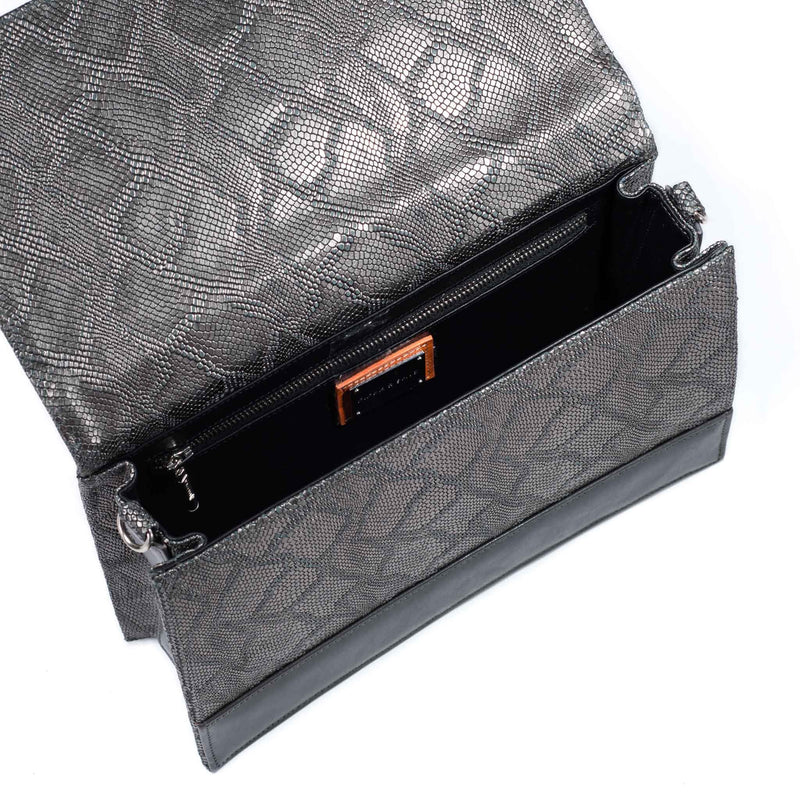 interior of front view of gunmetal python embossed leather crossbody