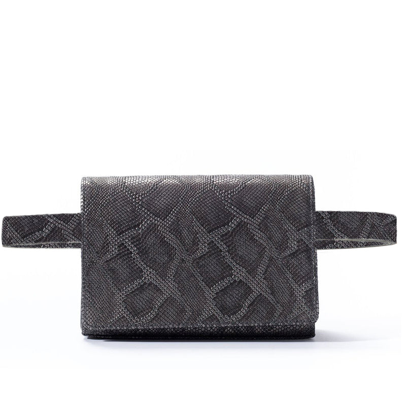piper & skye metallic gunmetal belt bag
