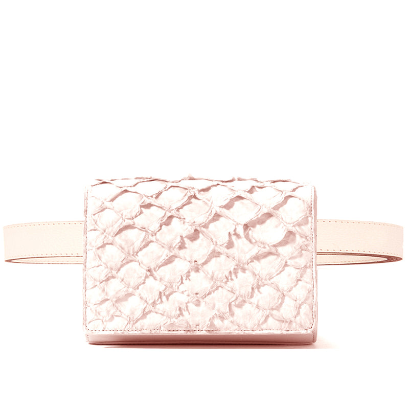 piper & skye pink pirarucu leather belt bag
