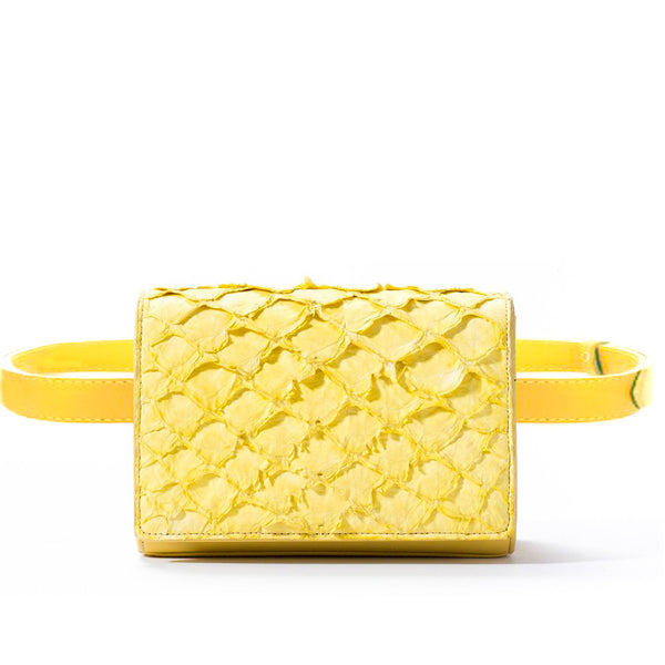 responsible luxury beltbag in yellow pirarucu