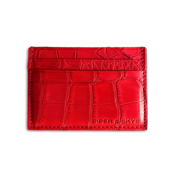 Embossed leather cardholder in Gunmetal by Piper & Skye