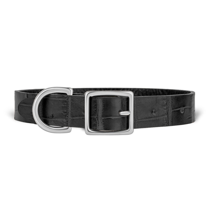 York Dog Collar - Midnight Black Alligator